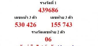 หวยออกงวด 1 มีนาคม 2559 (1-03-59) หวยงวดล่าสุด ผลสลากกินแบ่งรัฐบาล