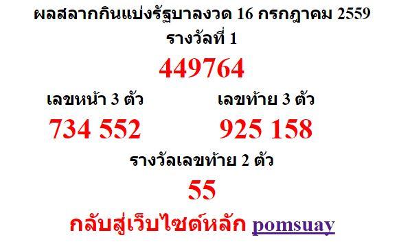 หวยออกงวด 16 กรกฎาคม 2559 (16-07-59) หวยงวดล่าสุด ผลสลากกินแบ่งรัฐบาล