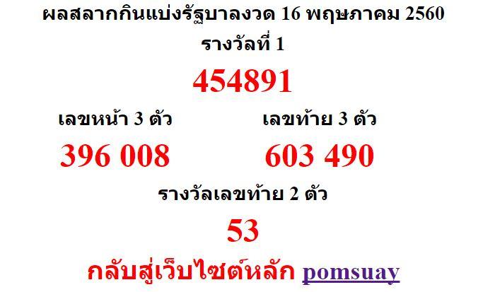 หวยออกงวด 16 พฤษภาคม 2560 (16-05-60) หวยงวดล่าสุด ผลสลากกินแบ่งรัฐบาล