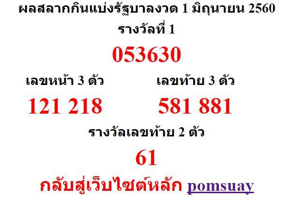 หวยออกงวด 1 มิถุยายน 2560 (1-06-60) หวยงวดล่าสุด ผลสลากกินแบ่งรัฐบาล