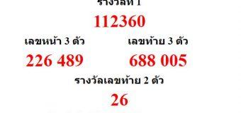 หวยออกงวด 1 กรกฎาคม 2560 (1-07-60) หวยงวดล่าสุด ผลสลากกินแบ่งรัฐบาล