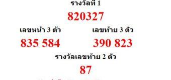 หวยออกงวด 16 กรกฎาคม 2560 (16-07-60) หวยงวดล่าสุด ผลสลากกินแบ่งรัฐบาล