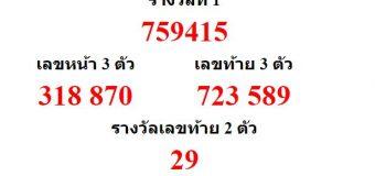 หวยออกงวด 2 มีนาคม 2561 (2-03-61) หวยงวดล่าสุด ผลสลากกินแบ่งรัฐบาล