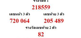 หวยออกงวด 16 มีนาคม 2561 (16-03-61) หวยงวดล่าสุด ผลสลากกินแบ่งรัฐบาล