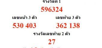 หวยออกงวด 16 กรกฎาคม 2561 (16-07-61) หวยงวดล่าสุด ผลสลากกินแบ่งรัฐบาล