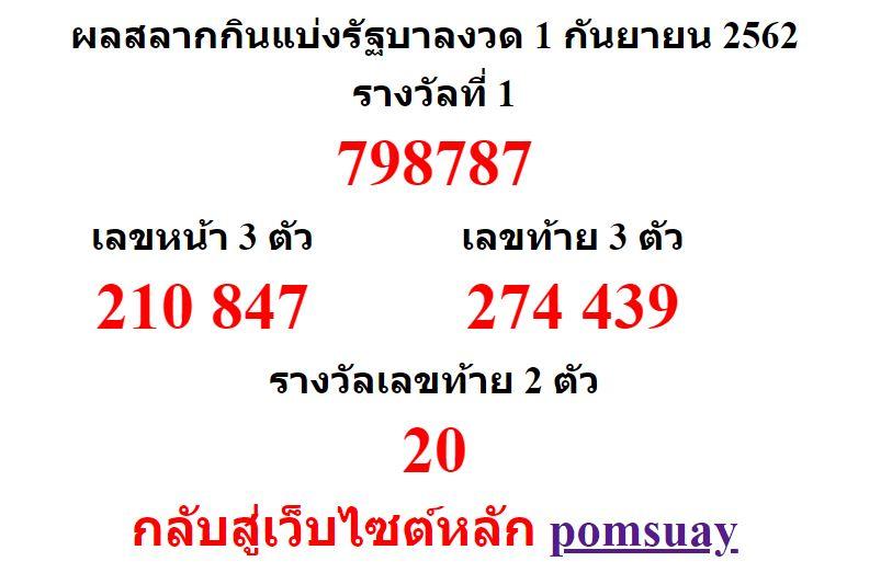 หวยออกงวด 1 กันยายน 2562 (1-09-62) หวยงวดล่าสุด ผลสลากกินแบ่งรัฐบาล